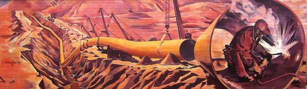 Oil Industry Painting - Mural 12x90 Feet Detail Pipeline by Tim  Heimdal
