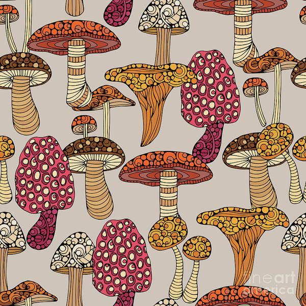 Vegetables Digital Art - Mushroom Pattern by MGL Meiklejohn Graphics Licensing