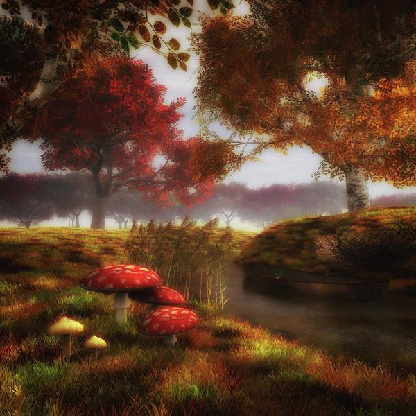 Painting - Mushrooms And River by Jan Keteleer