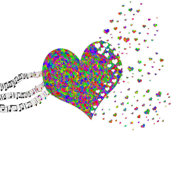 Digital Art - Music Fuels Love Rainbow Colors by Denise Beverly