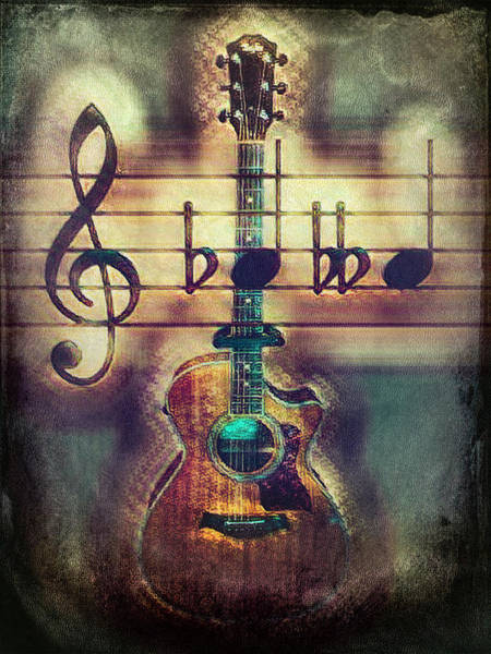 Passionate Photograph - Music Guitar In Masculine Tones by Debra and Dave Vanderlaan