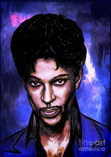 Prince Rogers Nelson Wall Art - Painting - Music Legend  Prince by Andrzej Szczerski