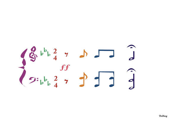 Digital Art - Music Notes 1 by David Bridburg