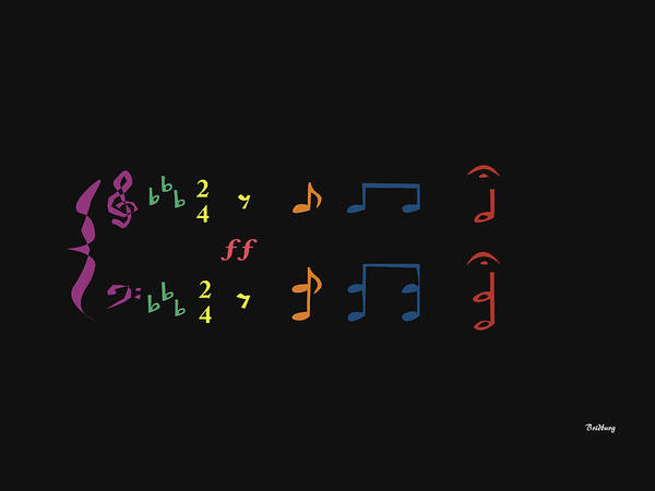Wall Art - Digital Art - Music Notes 35 by David Bridburg
