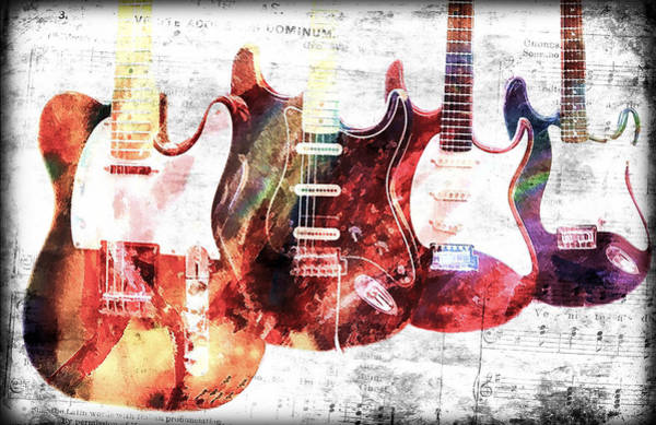 Fret Board Photograph - Music Notes Electric Guitars by Athena Mckinzie