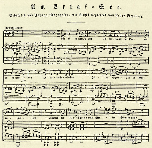 Music Score For Erlaf See By Schubert Art Print