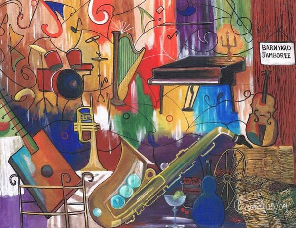 Musical Theme Painting - Musical Instruments Iv by Everna Taylor