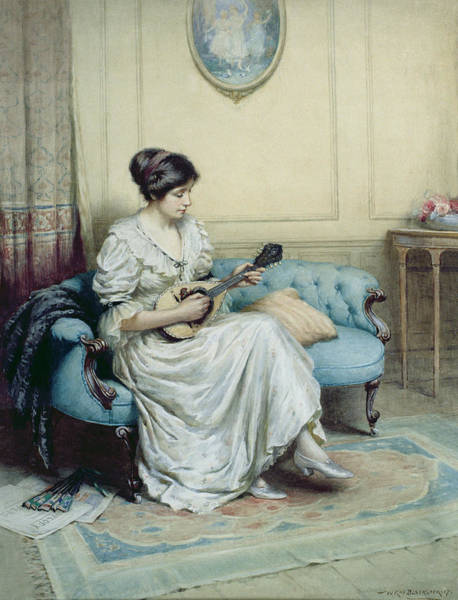Blue Dress Painting - Musical Interlude by William Kay Blacklock