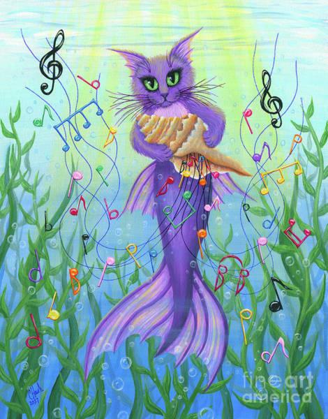 Painting - Musical Mercat - Purple Mermaid Cat by Carrie Hawks