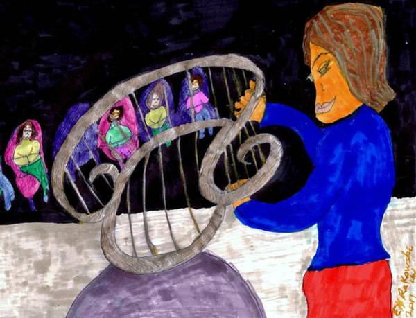 Harp Mixed Media - Musical Recital by Elinor Helen Rakowski
