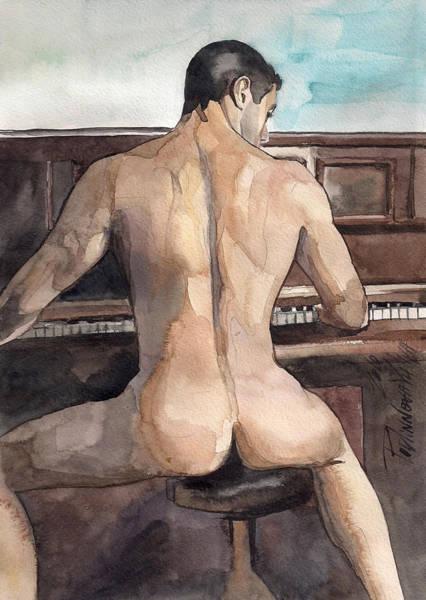 Erotic Painting - Musician by Yuliya Podlinnova