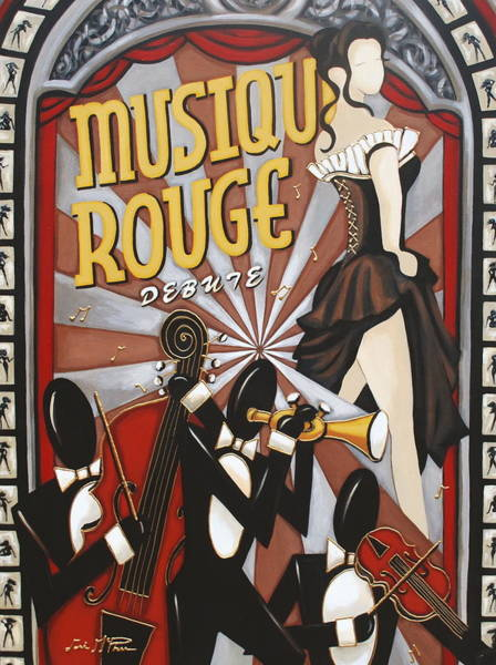 Musical Theme Painting - Musique Rouge by Lori McPhee