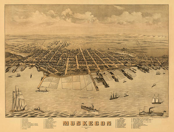Wall Art - Painting - Muskegon, Michigan 1874 by Ruger