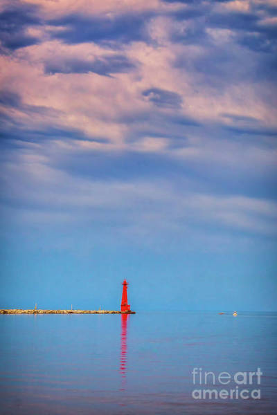 Photograph - Muskegon South Channel Light Before A Storm by Nick Zelinsky