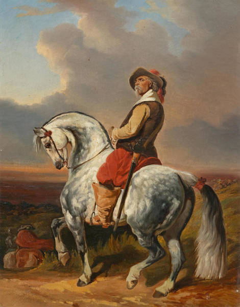 Wall Art - Painting - Musketeer On A White Horse by Alfred de Dreux