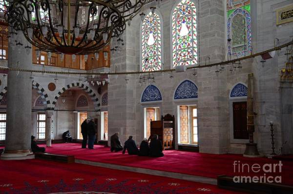 Photograph - Muslim Men Pray Inside Mihrimah Sultan Mosque Istanbul Turkey by Imran Ahmed