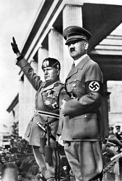 Everett Photograph - Mussolini And Hitler Together by Everett