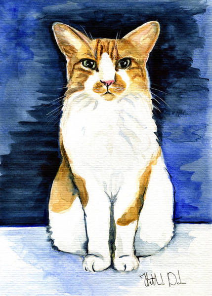 Mustached Bicolor Beauty - Cat Portrait Art Print