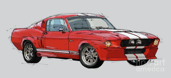 Man Cave Drawing - Mustang Gt-500 Red Classic Car, Handmade Drawing, Gift For Man by Drawspots Illustrations
