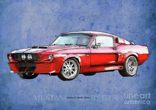 Man Cave Drawing - Mustang Gt500 Red, Handmade Drawing, Original Classic Car For Man Cave Decoration by Drawspots Illustrations