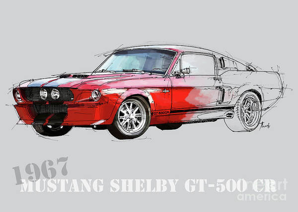 Wall Art - Digital Art - Mustang Gt500 Red, Handmade Drawing, Original Classic Car For Man Cave Decoration Red And Grey by Drawspots Illustrations