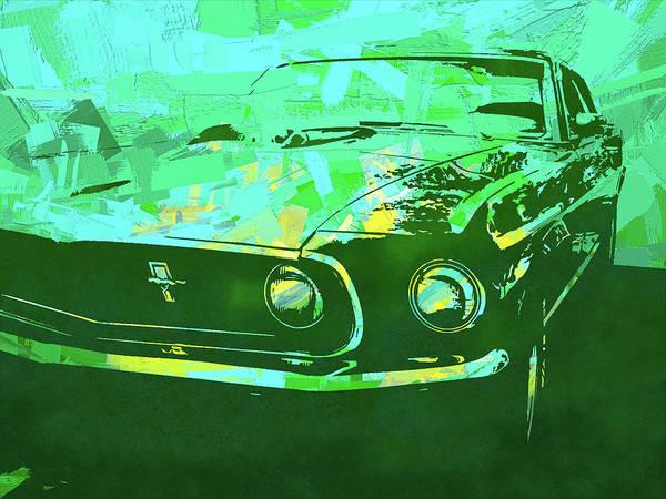 Digital Art - Mustang Mach 1 Green Pop by David King