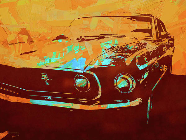 Digital Art - Mustang Mach 1 Orange Pop by David King