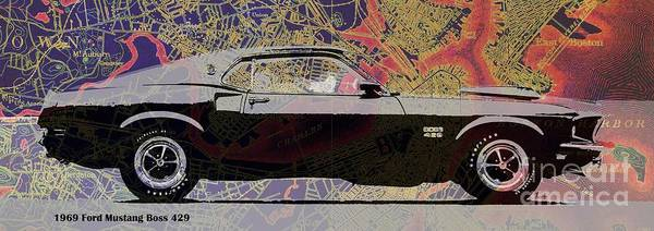 Old Car Drawing - Mustang Original Car On Boston Harbor Old Vintage Map by Drawspots Illustrations