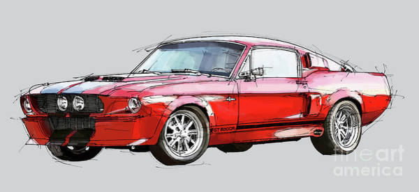 Handmade Wall Art - Digital Art - Mustang Shelby Gt500 - Handmade Drawing, Gift For Men by Drawspots Illustrations
