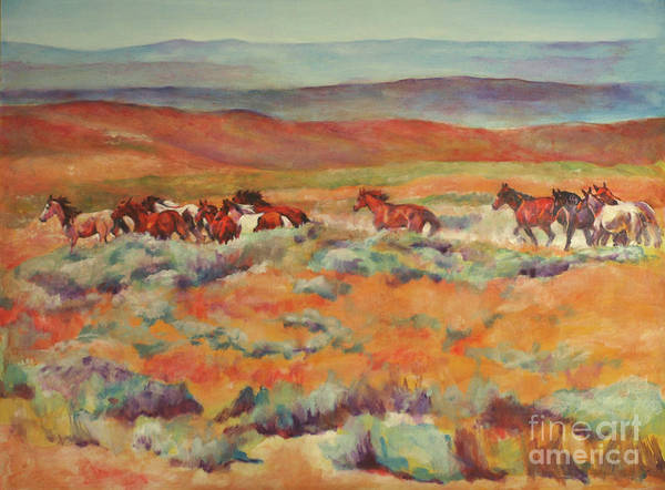 White Horse Painting - Mustangs Running Near White Mountain by Karen Brenner