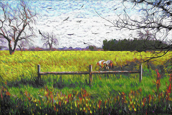 Mustard Field Painting - Mustard Field Van Gogh Style by Dominique Amendola