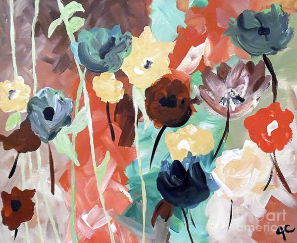 Floral Shower Curtain Painting - Muted Floral Abstraction by Jilian Cramb - AMothersFineArt