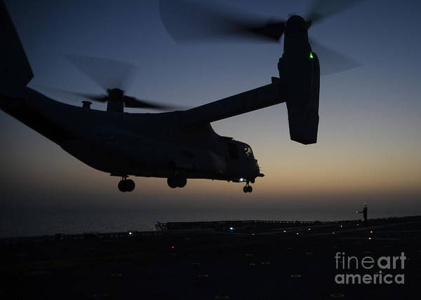 Flight Deck Painting - Mv-22b Osprey Tiltrotor Aircraft Launching by Celestial Images