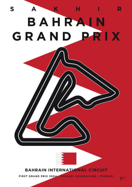Limited Edition Wall Art - Digital Art - My 2017 Bahrain Grand Prix Minimal Poster by Chungkong Art