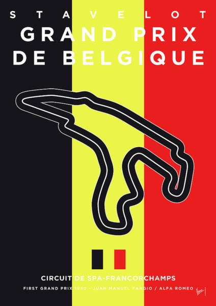 Limited Edition Wall Art - Digital Art - My 2017 Grand Prix De Belgique Minimal Poster by Chungkong Art