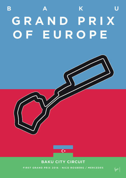 Wall Art - Digital Art - My 2017 Grand Prix Of Europe Minimal Poster by Chungkong Art