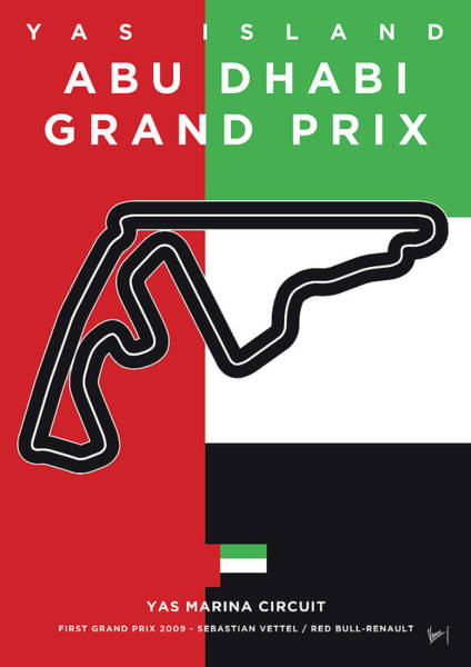 Limited Edition Wall Art - Digital Art - My Abu Dhabi Grand Prix Minimal Poster by Chungkong Art