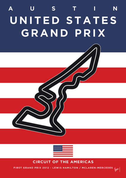 Limited Edition Wall Art - Digital Art - My Austin Usa Grand Prix Minimal Poster by Chungkong Art