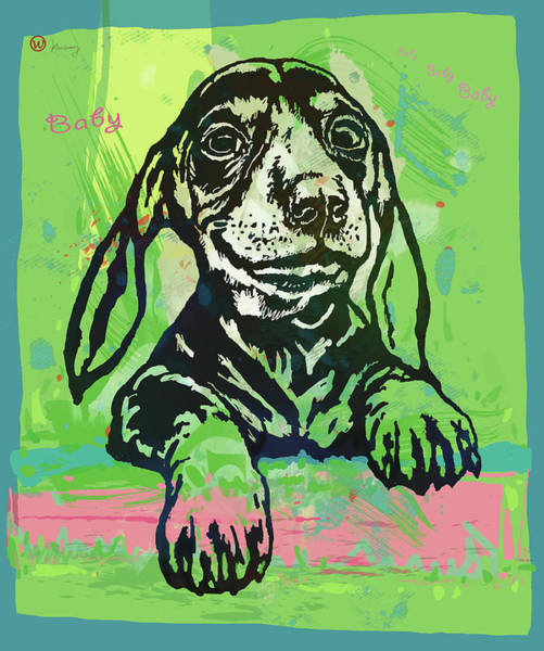 Wall Art - Mixed Media - My Baby - Dog Pop Art Poster by Kim Wang