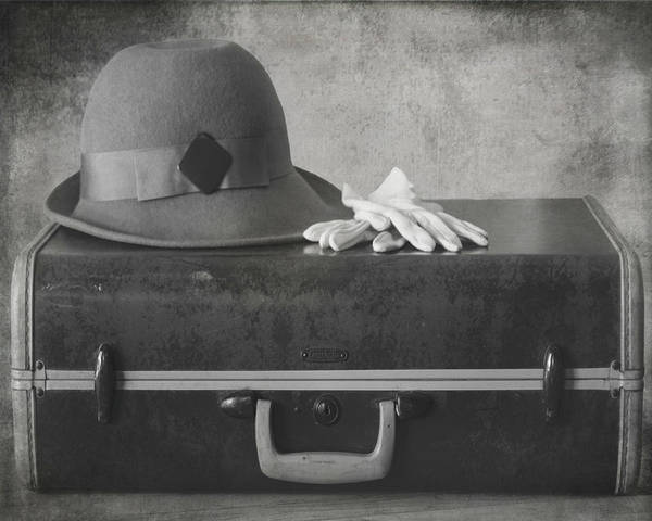 Photograph - My Bags Are Packed Vintage Bw by Teresa Wilson