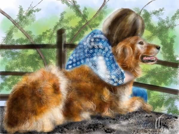 Golden Retriever Digital Art - My Best Friend by Lois Ivancin Tavaf