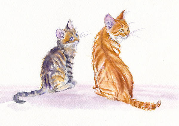 Cat Painting - My Big Sister by Debra Hall