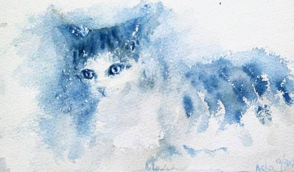 Painting - My Blue Cat by Asha Sudhaker Shenoy