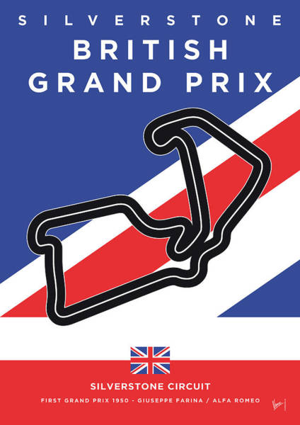 Wall Art - Digital Art - My British Grand Prix Minimal Poster by Chungkong Art