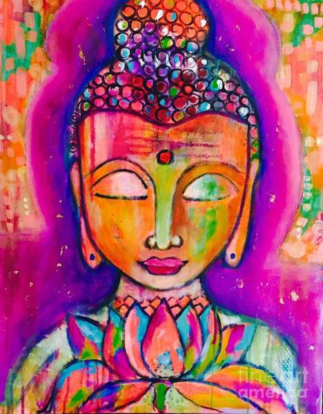 Art Print featuring the mixed media My Buddha  by Corina Stupu Thomas