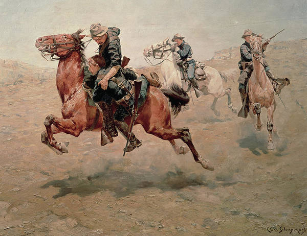 Gunfight Wall Art - Painting - My Bunkie, 1899  by Charles Schreyvogel