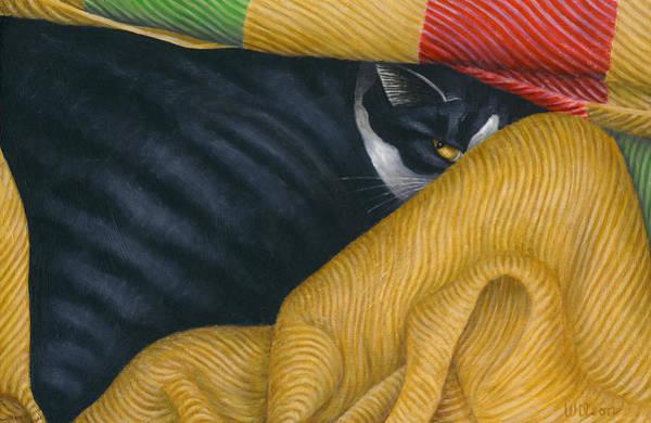 Wall Art - Painting - My Cat Blanket by Carol Wilson