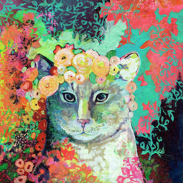 Kitty Wall Art - Painting - My Cat Naps In A Bed Of Roses by Jennifer Lommers