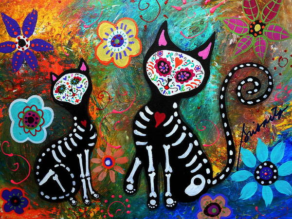 Pristine Wall Art - Painting - My Cats Dia De  Los Muertos by Pristine Cartera Turkus