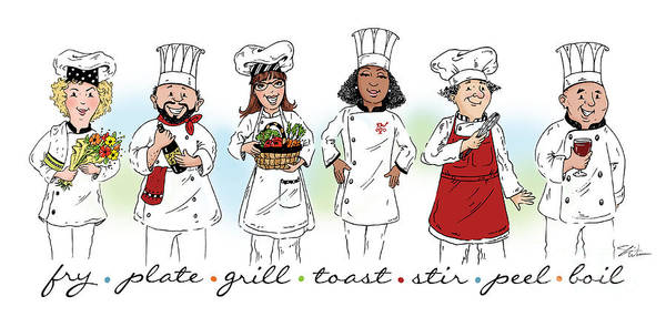 Mixed Media - My Chefs In A Row-ii by Shari Warren